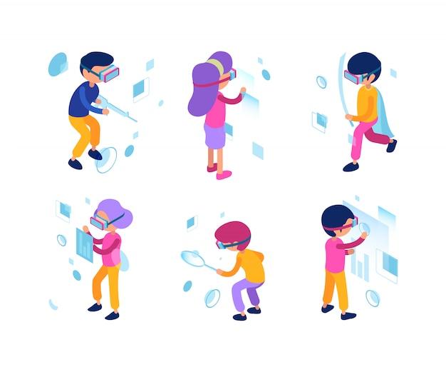 Futuristische mensen. virtual reality augmentation personen man vrouw toekomst nieuwe technologie managers arbeiders isometrische karakters