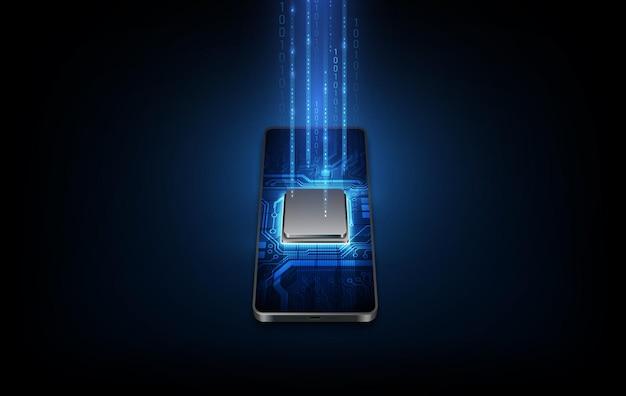 Futuristische microchipprocessor met achtergrondverlichting op de telefoon in blauw. kwantumtelefoon, big data-verwerking, databaseconcept. vectorillustratie.