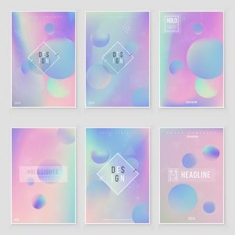 Futuristische moderne holografische cover set. jaren 90, jaren 80 retrostijl.