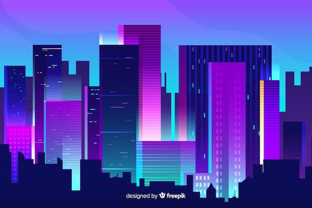 Futuristische nacht stad achtergrond