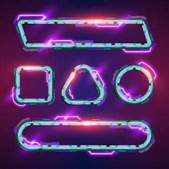 Futuristische neon banner set.