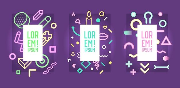 Futuristische neon frames met abstracte geometrische elementen. moderne kunstafbeeldingen voor flyers, posters, spandoeken, posters, brochures met plaats voor tekst. vector illustratie