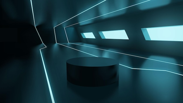 Futuristische neon sci fi-kamer met leeg podium voor productpresentatie