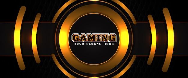 Futuristische oranje en zwarte gaming header sociale media-sjabloon voor spandoek