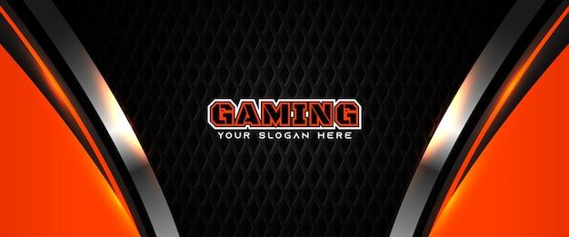 Futuristische oranje en zwarte gaming koptekst sociale media-sjabloon voor spandoek