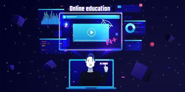 Futuristische platte online onderwijs achtergrond