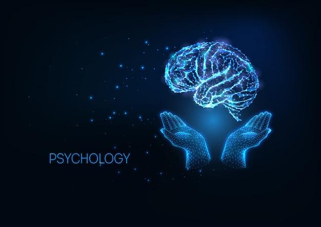 Futuristische psychologieillustratation met gloeiende veelhoekige handen die hersenen houden