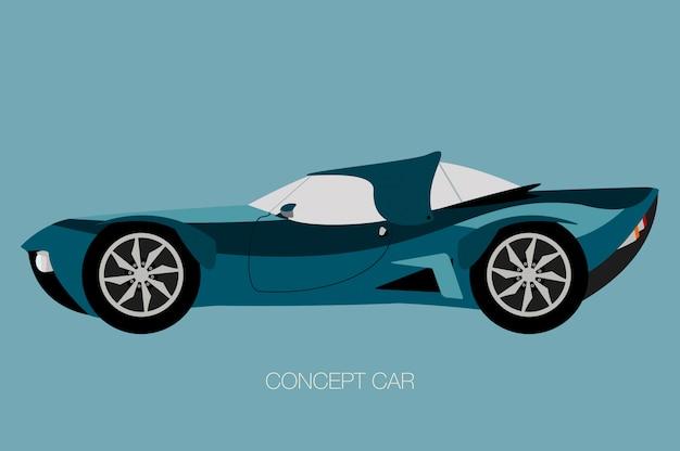 Futuristische retro auto, zijaanzicht van auto, auto, motorvoertuig