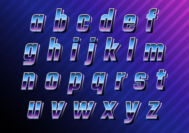 Futuristische retro technologie kleine letters instellen