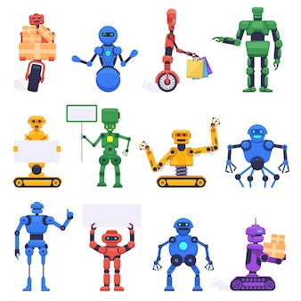 Futuristische robots. robotica android bot, mechanische humanoïde robot karakters, robot mascotte assistent, illustratie iconen set. robotachtige humanoïde, futuristische machine cyborg