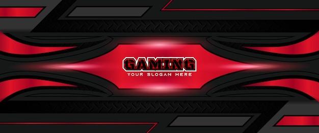 Futuristische rode en zwarte gaming header social media bannersjabloon