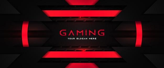 Futuristische rode en zwarte gaming koptekst sociale media-sjabloon voor spandoek