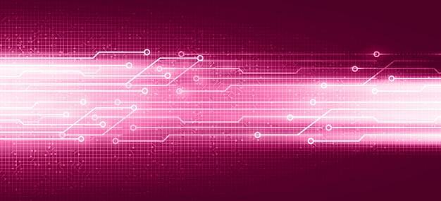 Futuristische roze digitale kring met netwerktechnologie op toekomstig achtergrond, snelheid en verbindingsconceptontwerp, vectorillustratie.