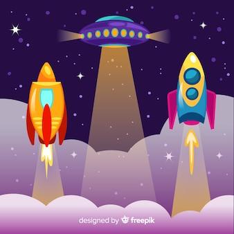 Futuristische ruimteschipcollectie met plat ontwerp