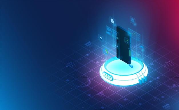 Futuristische smartphone op reactor voor stroomaansluiting vector en illustratie