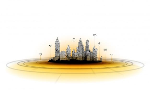 Futuristische stad in veelhoekige wireframe-stijl