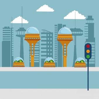 Futuristische stad metropolis met verkeerslicht in de straat