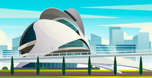 Futuristische stad van kunsten en wetenschappen cartoon vectorillustratie