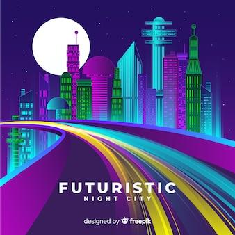 Futuristische stad weg achtergrond