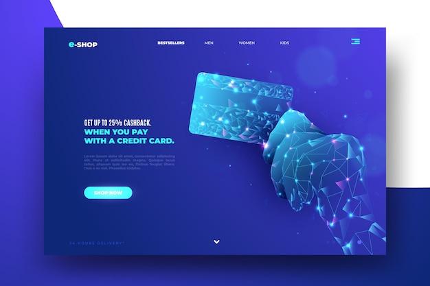 Futuristische stijl die online homepage winkelt
