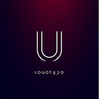 Futuristische stijl letter u minimalistisch type voor modern futuristisch logo elegant cyber tech monogram