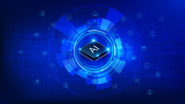 Futuristische technologie cpu-chipset en iot op donkerblauwe achtergrond