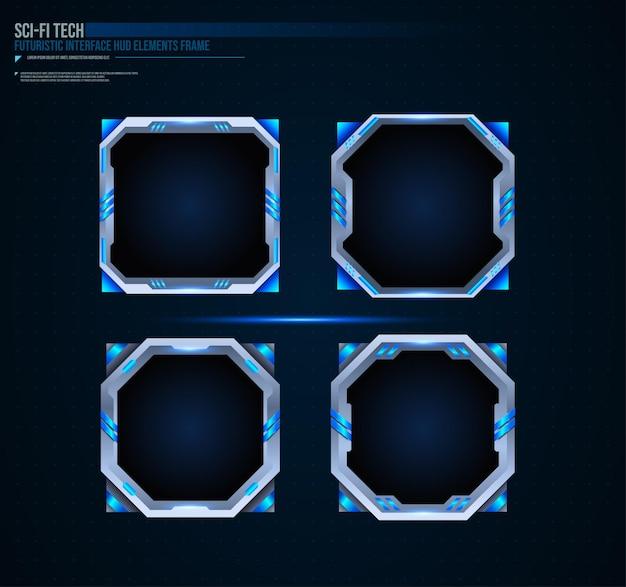 Futuristische technologie frames interface hud-element ontwerp voor ui-games