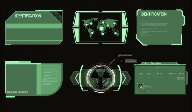Futuristische technologie hud-scherm. tactical view sci-fi vr dislpay. hud ui. futuristisch vr head-up display design. technologie scherm.