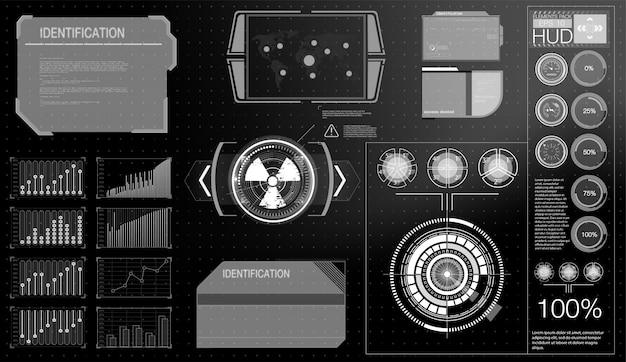 Futuristische technologie hud-scherm. tactical view sci-fi vr dislpay. hud ui. futuristisch vr head-up display design. virtual reality technology-scherm.