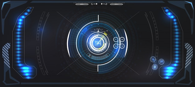 Futuristische technologie hud-scherm. tactical view sci-fi vr dislpay. hud ui. futuristisch vr head-up display design. vitrual reality technology screen.
