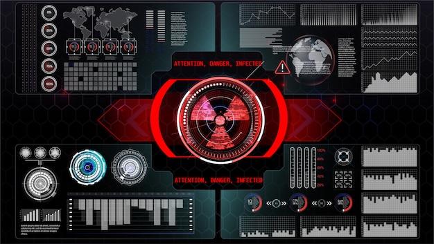 Futuristische technologie hud-scherm. tactical view sci-fi vr dislpay. hud ui. futuristisch vr head-up display. vitrual reality technology screen.
