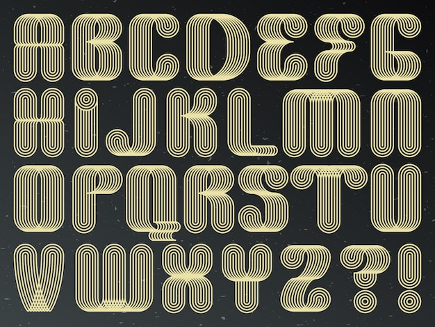 Futuristische technologie lettertype. gestreepte letters met letters.