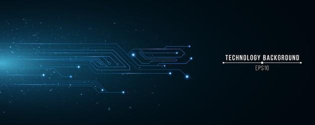 Futuristische technologieachtergrond van gloeiend blauw computercircuit. willekeurige vliegende deeltjes. science achtergrond. hi-tech sjabloon.