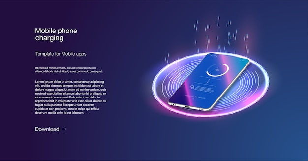 Futuristische telefoon wordt draadloos opgeladen op een blauwe achtergrond. draadloos opladen. draadloos opladen van de smartphonebatterij.