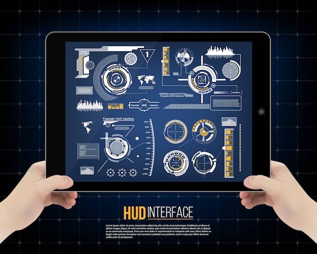 Futuristische touch gebruikersinterface hud achtergrond.