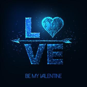 Futuristische valentijnsdag poster met gloeiende lage veelhoekige woord liefde, hartsymbool en cupid pijl