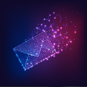 Futuristische vliegende elektronische envelop, e-mail op donker verloop blauw tot paars.