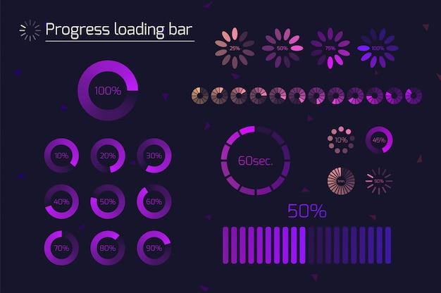 Futuristische voortgangsbalkpictogrammen laden. set indicatoren. downloadproces, web ui ontwerpinterface upload. illustratie.