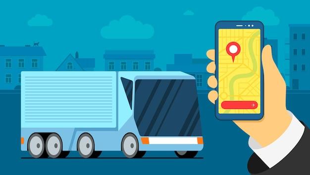 Futuristische vrachtwagenaanhangwagen logistiek op stedelijke stadskaart navigator locatiepunt op smarthpone