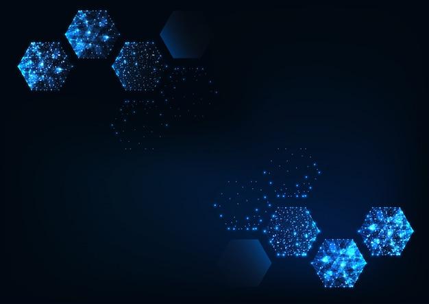 Futuristische wetenschappelijke zeshoekige donkerblauwe achtergrond met ruimte voor tekst.