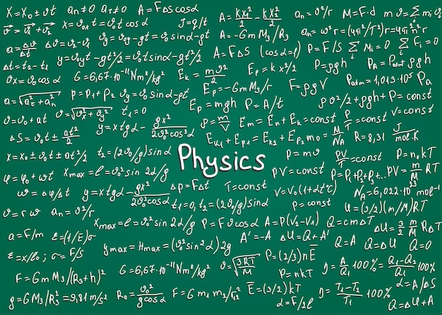 Fysica witte formules met de hand getekend op een groen bord voor de achtergrond
