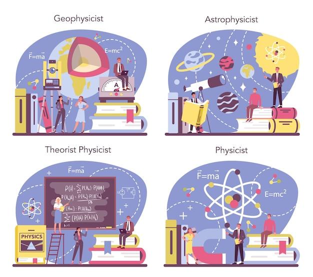 Fysicus concept set. wetenschappers onderzoeken elektriciteit, magnetisme, lichtgolven en krachten. geofysicus, astrofysicus, theoretische en praktische studie. geïsoleerde vectorillustratie