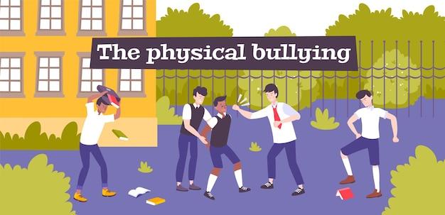 Fysiek pesten platte compositie met schoolachtertuinlandschap en een groep gewelddadige kinderen die hun partner slaan