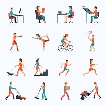 Fysieke activiteit pictogrammen