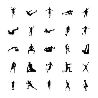 Fysieke activiteiten silhouetten vectoren instellen