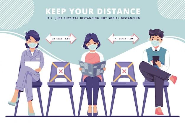 Fysieke afstand in nieuwe normale concept illustratie