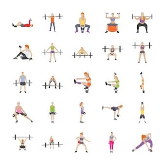 Fysieke training plat pictogrammen