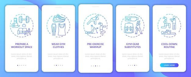 Fysieke trainingsadviezen thuis onboarding mobiele app-paginascherm met concepten. fitnessruimte, doorlooptrap voor sportkleding. ui-sjabloon
