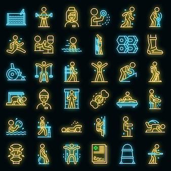 Fysiotherapeut pictogrammen instellen. overzicht set van fysiotherapeut vector iconen neon kleur op zwart