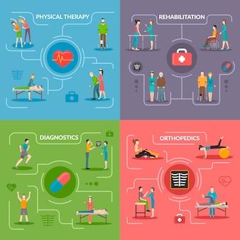 Fysiotherapie revalidatie 2x2-concept